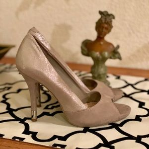 BCBGeneration taupe silver open toed high heels